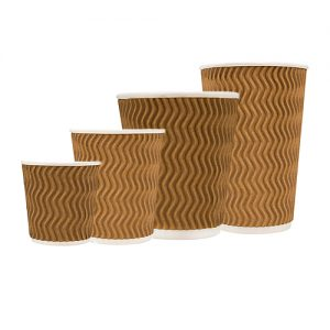 Tailored Packaging Natural Brown Wave Embossed Coffee Cups