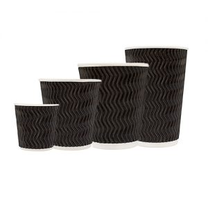 Tailored Packaging Charcoal Wave Embossed Coffee Cups