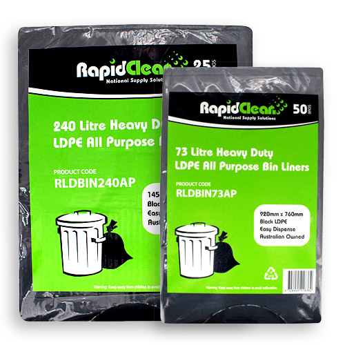 RapidClean All Purpose Black LDPE Garbage Bags