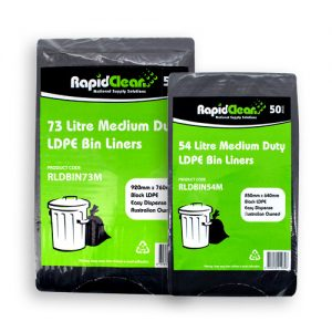 RapidClean Medium Duty Black LDPE Garbage Bags