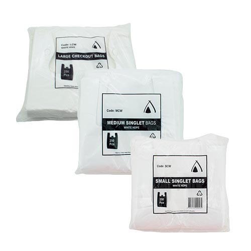 Tailored Packaging White HDPE Singlet Shopping Bags